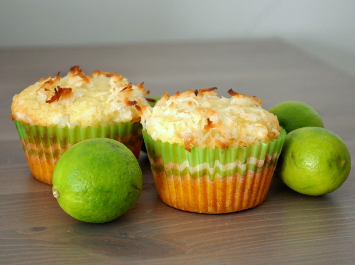muffins on counter next to whole limes